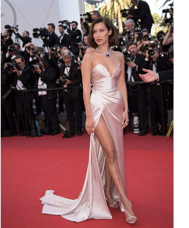 'Ismael's Ghosts' & Opening Gala Red Carpet – May 17 2017 Bella Hadid wore a custom Alexander Vauthier dress with Olgana Paris shoes and Bulgari jewellery