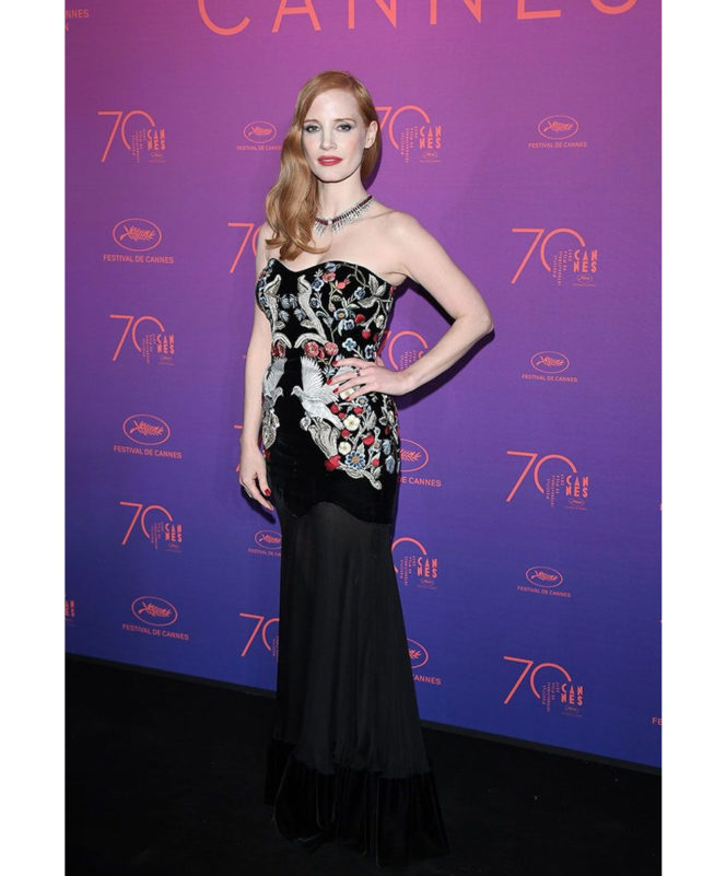 Opening Gala Dinner – May 17 2017 Jessica Chastain wore an Alexander McQueen gown and Piaget jewellery